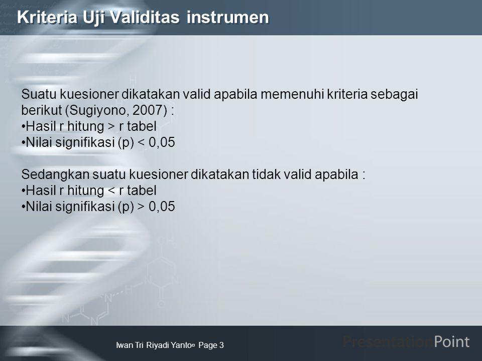 Kriteria Uji Validitas instrumen