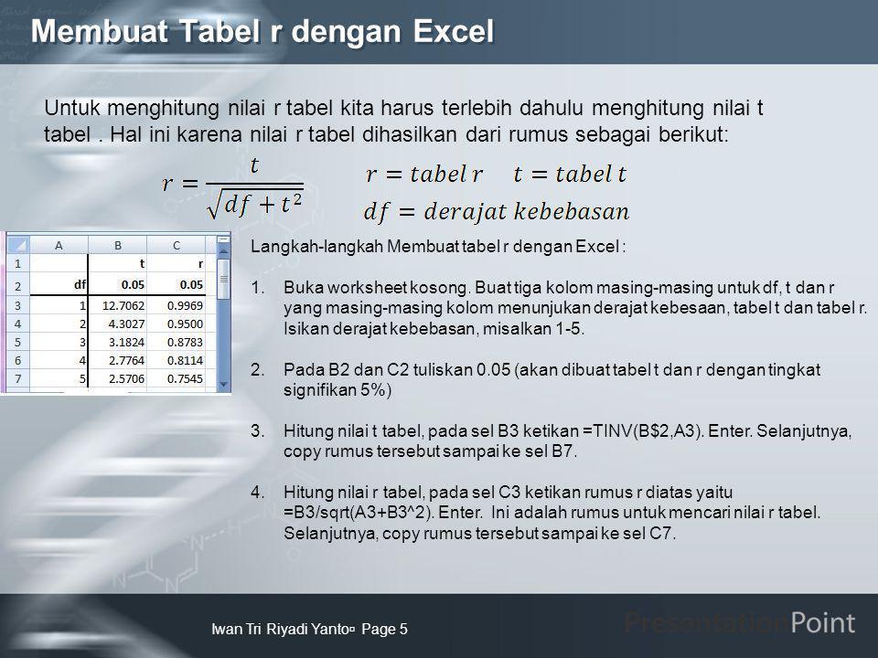 Membuat Tabel r dengan Excel