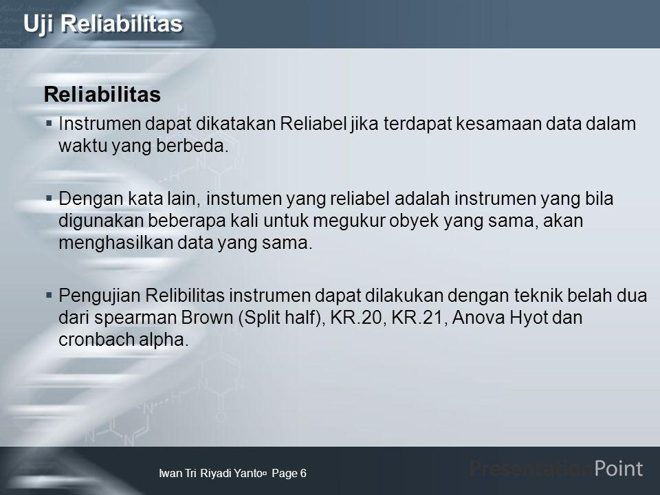 Uji Reliabilitas Reliabilitas