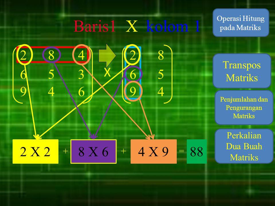 Baris1 X kolom 1 Operasi Hitung pada Matriks. 2. 8. 4. 2. 8. Transpos Matriks. X. 6. 5. 3.