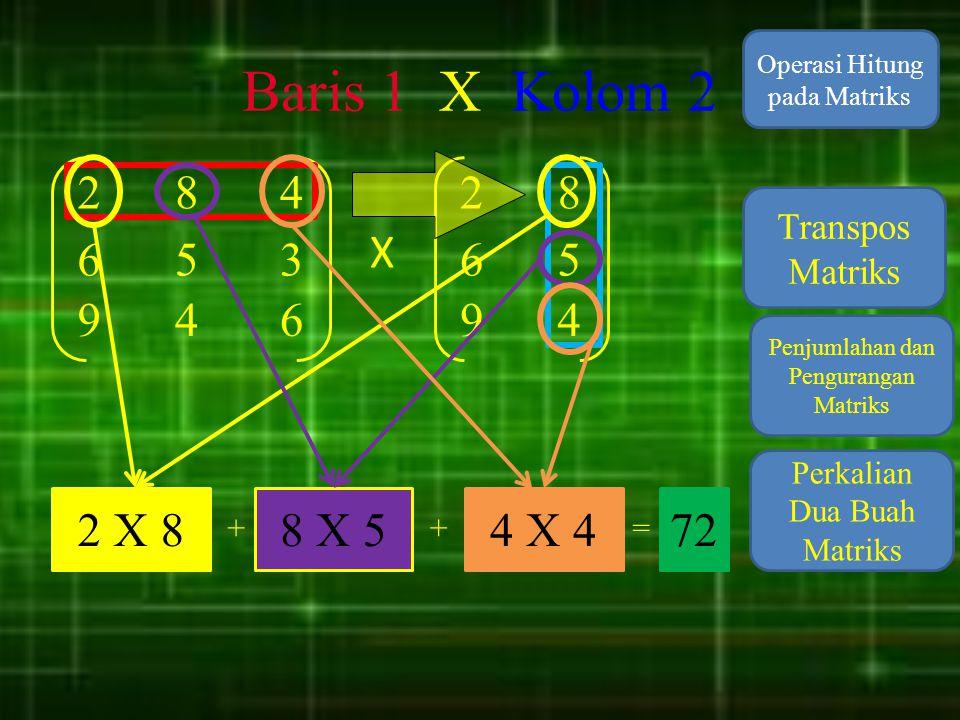 Baris 1 X Kolom 2 Operasi Hitung pada Matriks. 2. 8. 4. 2. 8. Transpos Matriks. X. 6. 5.