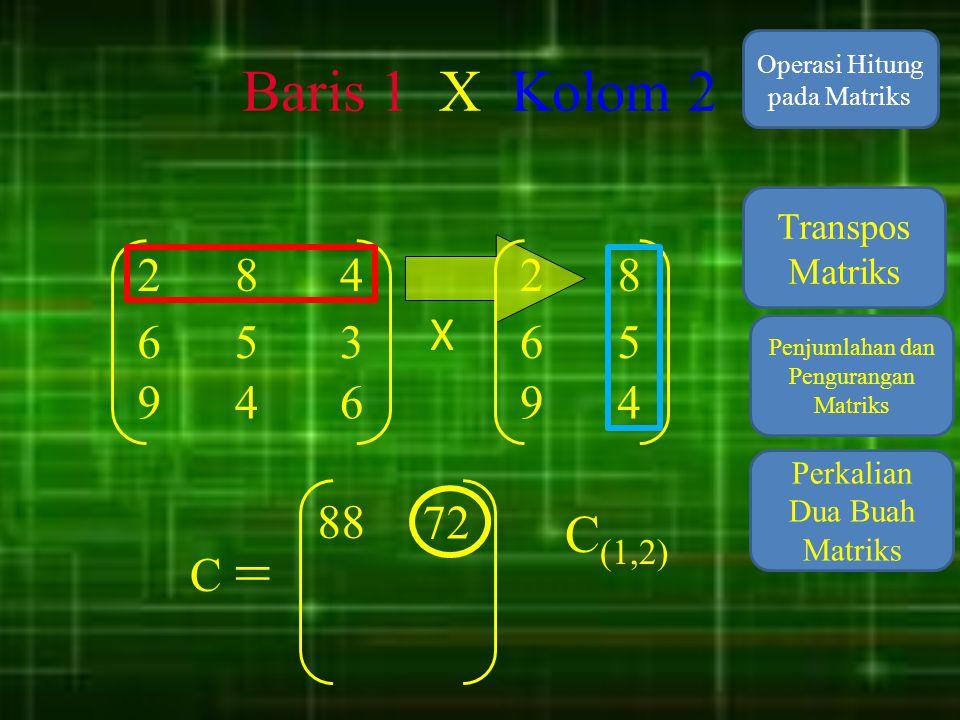 Baris 1 X Kolom 2 Operasi Hitung pada Matriks. Transpos Matriks. 2. 8. 4. 2. 8. X. 6. 5.