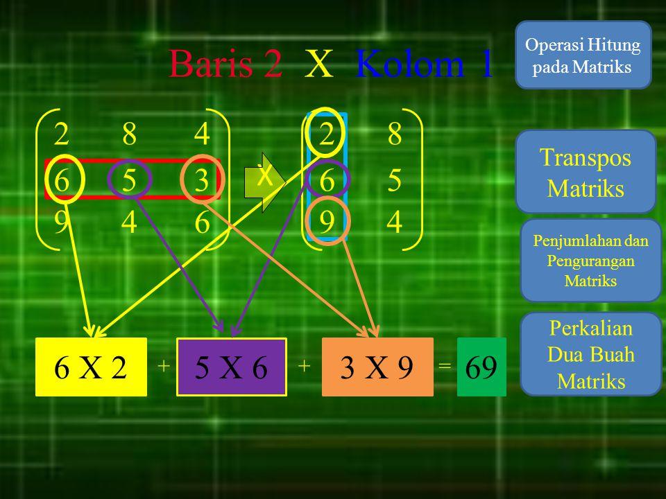 Baris 2 X Kolom 1 Operasi Hitung pada Matriks. 2. 8. 4. 2. 8. Transpos Matriks. X. 6. 5.