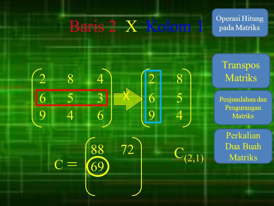 Baris 2 X Kolom 1 Operasi Hitung pada Matriks. Transpos Matriks. 2. 8. 4. 2. 8. X. 6. 5.