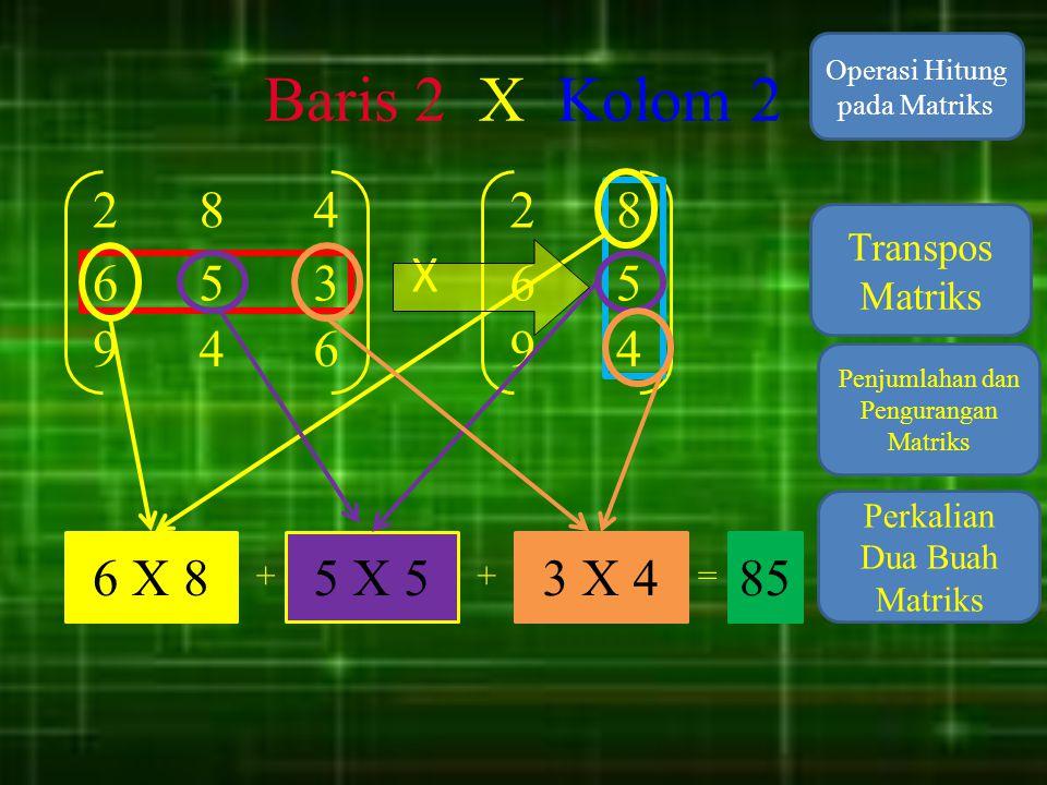 Baris 2 X Kolom 2 Operasi Hitung pada Matriks. 2. 8. 4. 2. 8. Transpos Matriks. X. 6. 5.