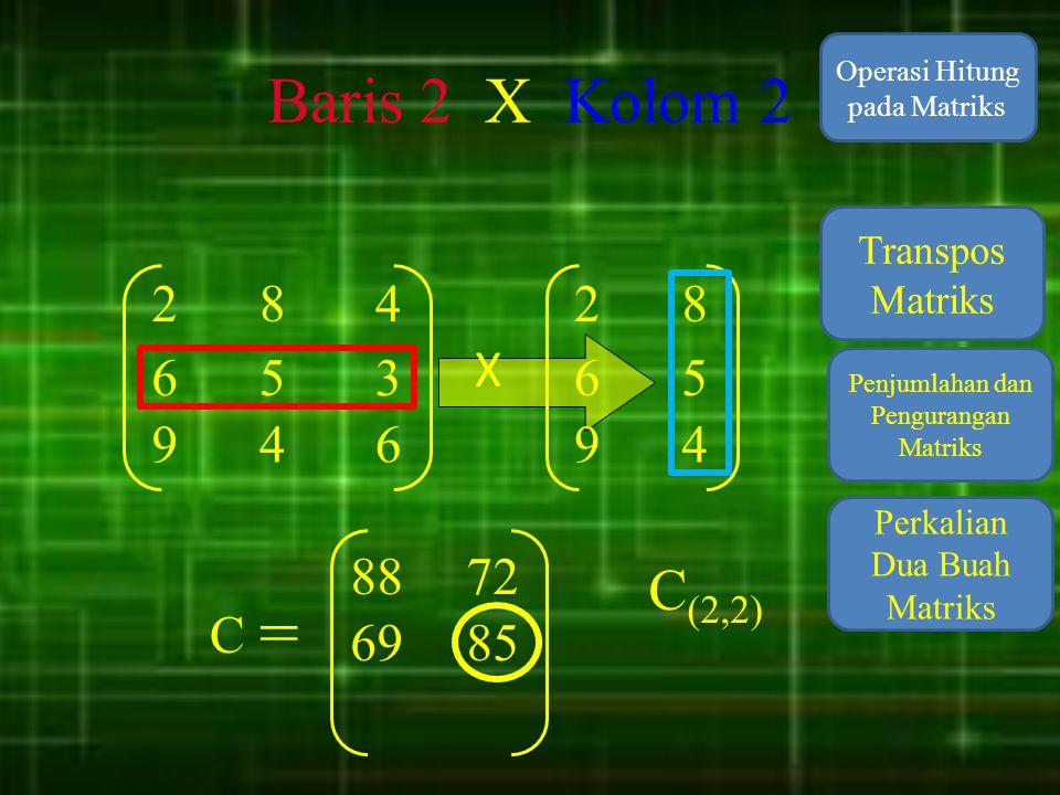 Baris 2 X Kolom 2 Operasi Hitung pada Matriks. Transpos Matriks. 2. 8. 4. 2. 8. X. 6. 5.