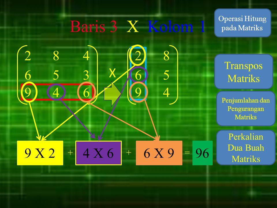 Baris 3 X Kolom 1 Operasi Hitung pada Matriks. 2. 8. 4. 2. 8. Transpos Matriks. X. 6. 5.