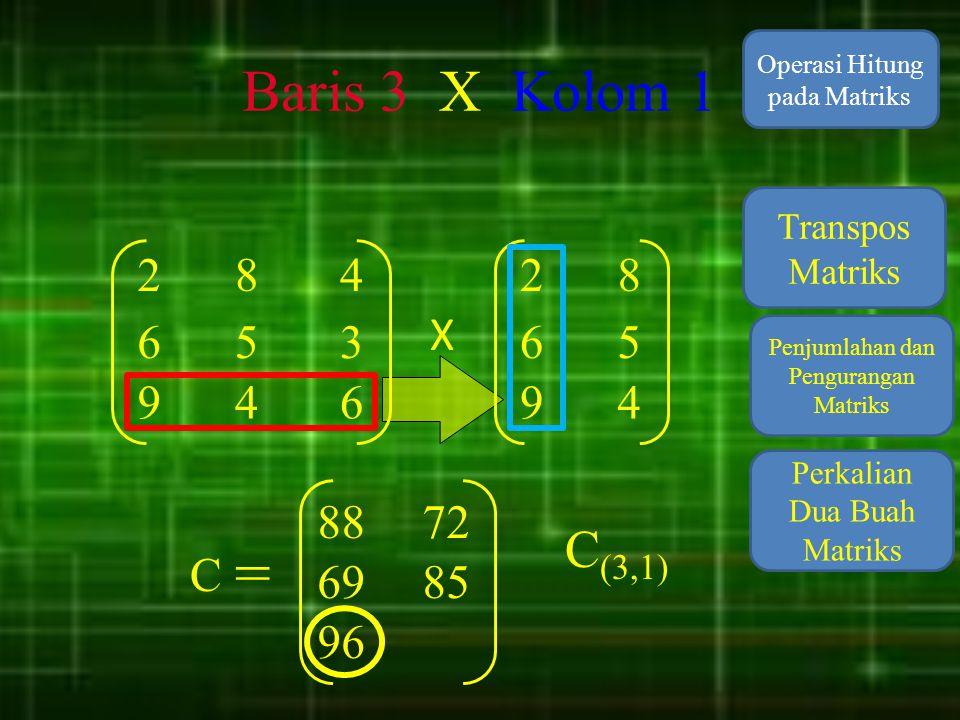 Baris 3 X Kolom 1 Operasi Hitung pada Matriks. Transpos Matriks. 2. 8. 4. 2. 8. X. 6. 5.