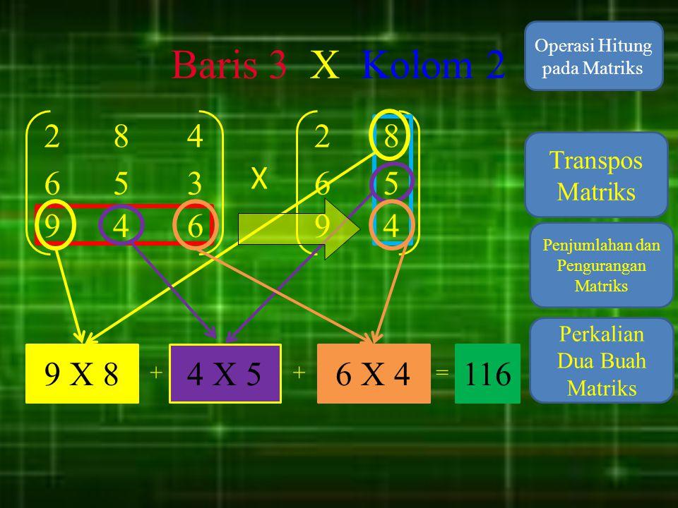 Baris 3 X Kolom 2 Operasi Hitung pada Matriks. 2. 8. 4. 2. 8. Transpos Matriks. X. 6. 5.