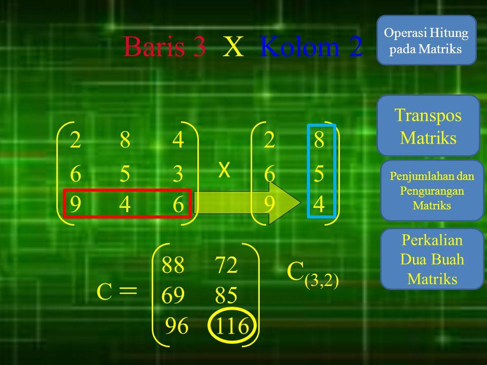 Baris 3 X Kolom 2 Operasi Hitung pada Matriks. Transpos Matriks. 2. 8. 4. 2. 8. X. 6. 5.