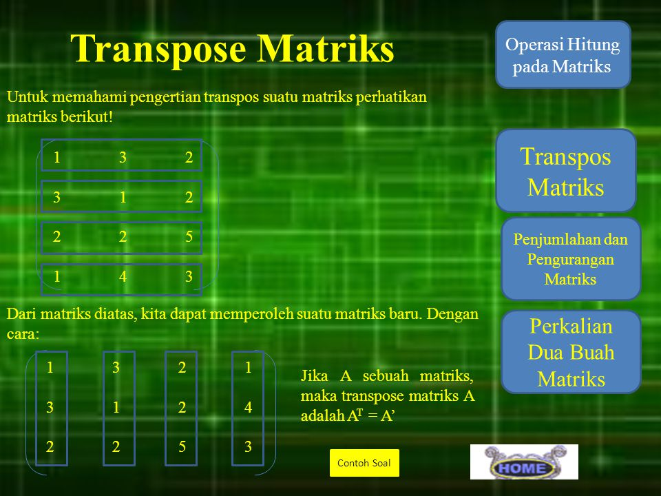 Transpose Matriks Transpos Matriks Perkalian Dua Buah Matriks