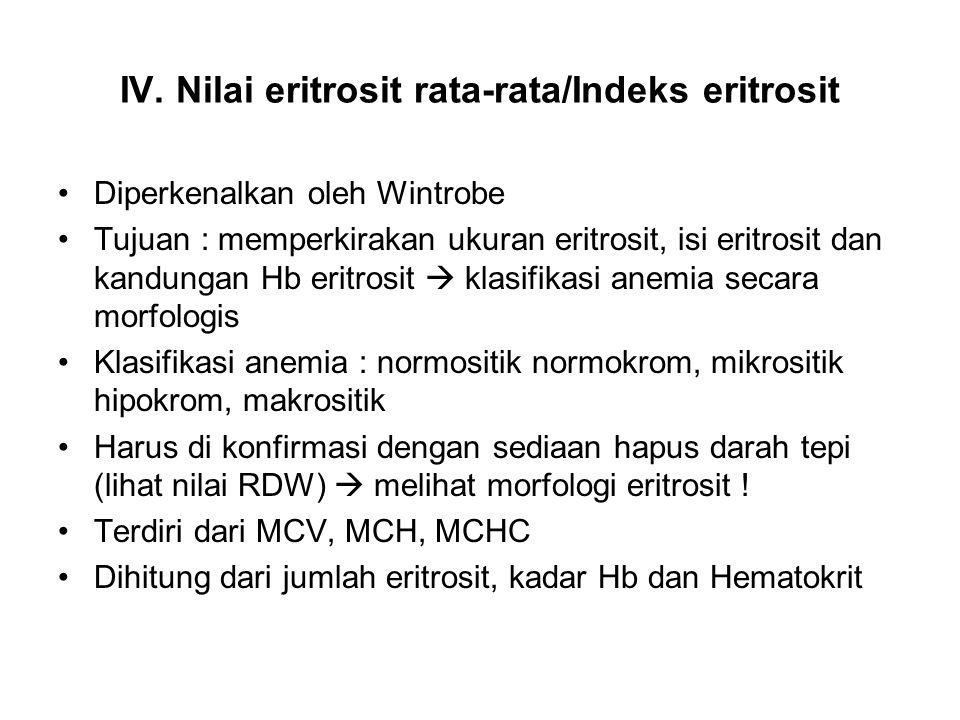 IV. Nilai eritrosit rata-rata/Indeks eritrosit