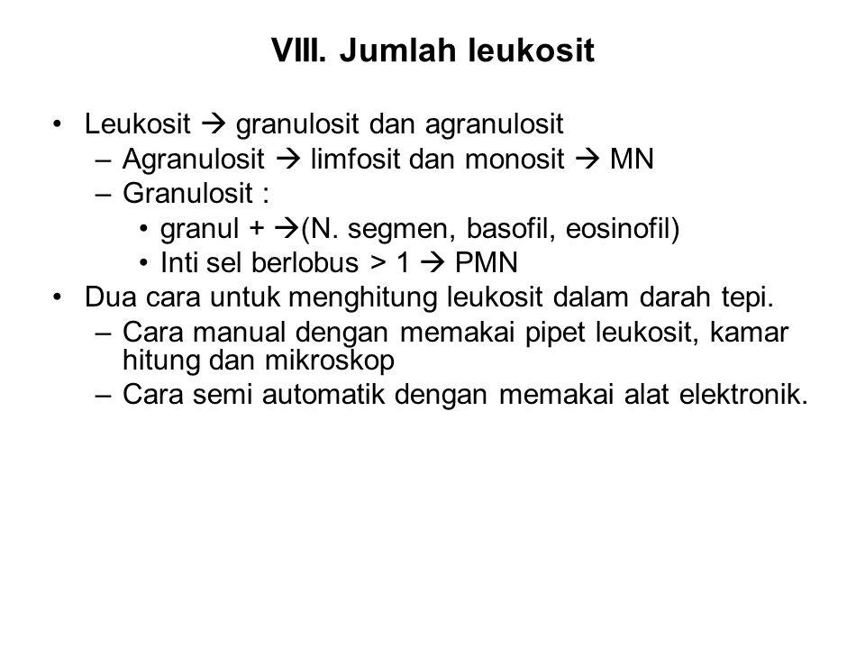VIII. Jumlah leukosit Leukosit  granulosit dan agranulosit