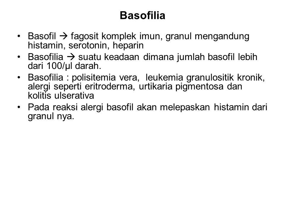Basofilia Basofil  fagosit komplek imun, granul mengandung histamin, serotonin, heparin.