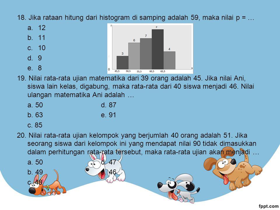 18. Jika rataan hitung dari histogram di samping adalah 59, maka nilai p = …