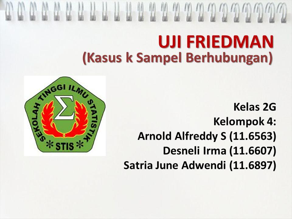 UJI FRIEDMAN (Kasus k Sampel Berhubungan) Kelas 2G Kelompok 4: