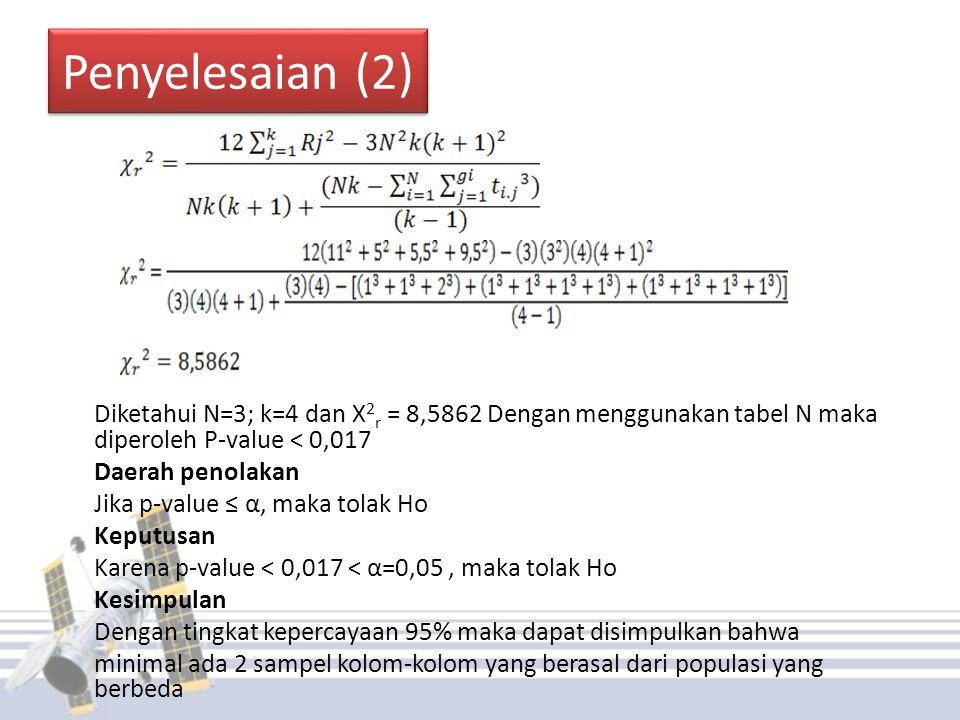 Penyelesaian (2) Daerah penolakan Jika p-value ≤ α, maka tolak Ho