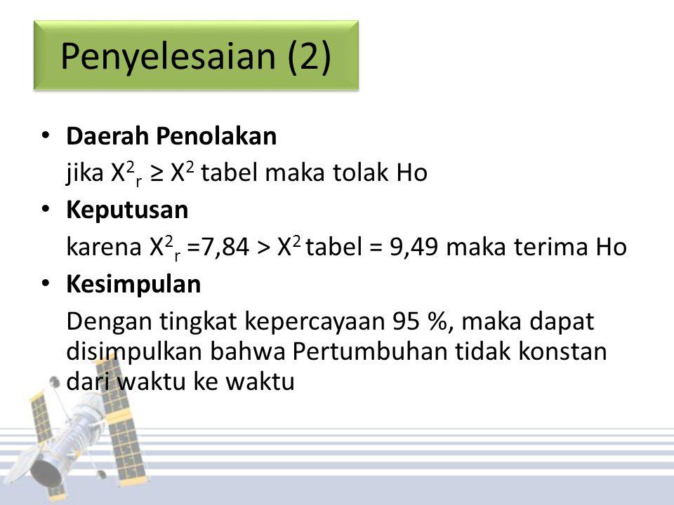 Penyelesaian (2) Daerah Penolakan jika X2r ≥ X2 tabel maka tolak Ho