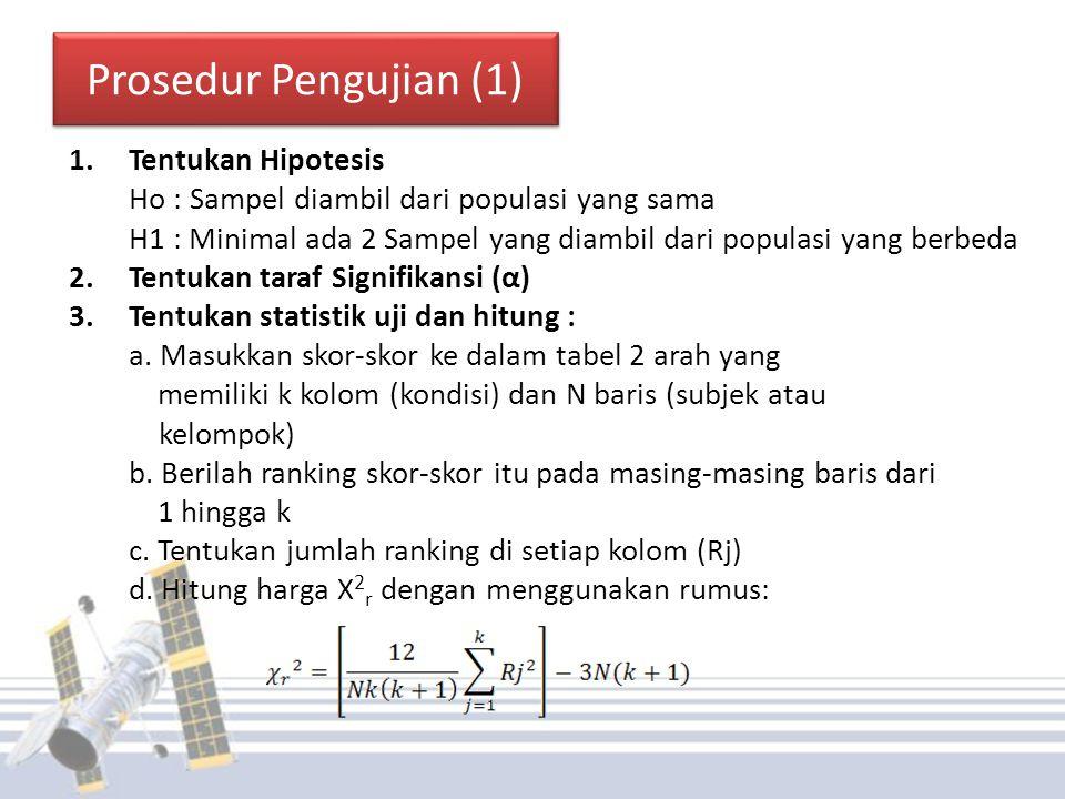 Prosedur Pengujian (1) Tentukan Hipotesis