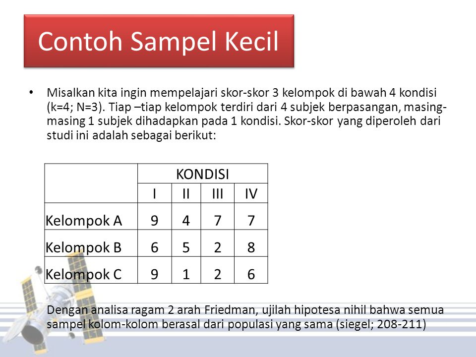 Contoh Sampel Kecil KONDISI I II III IV Kelompok A 9 4 7 Kelompok B 6