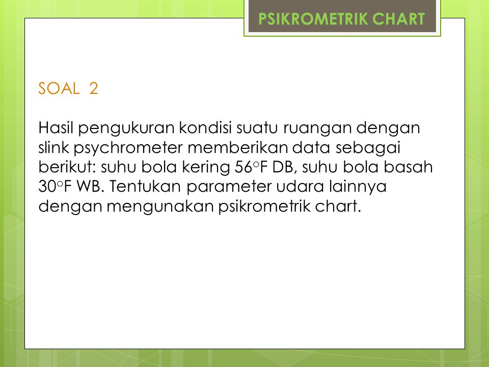 PSIKROMETRIK CHART SOAL 2.