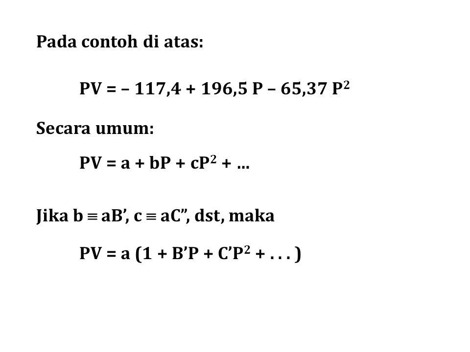 Pada contoh di atas: PV = – 117,4 + 196,5 P – 65,37 P2. Secara umum: PV = a + bP + cP2 + … Jika b  aB', c  aC , dst, maka.