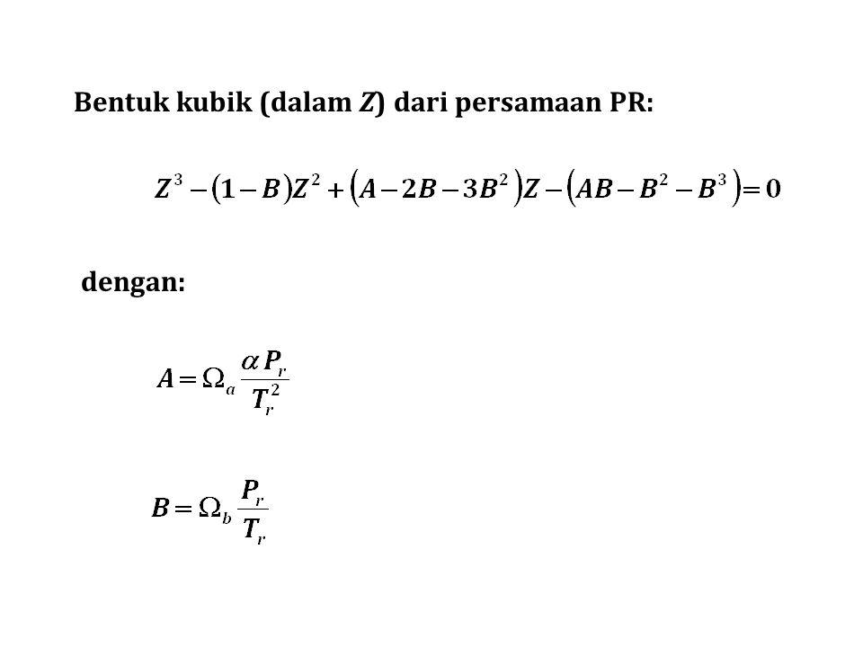 Bentuk kubik (dalam Z) dari persamaan PR: