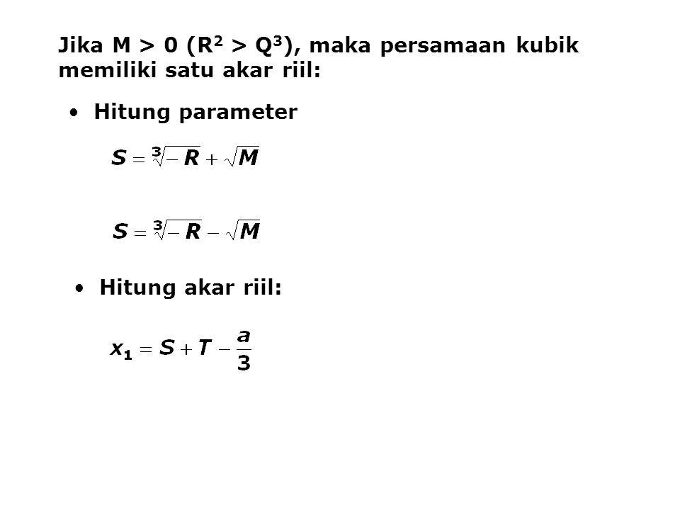 Jika M > 0 (R2 > Q3), maka persamaan kubik memiliki satu akar riil: