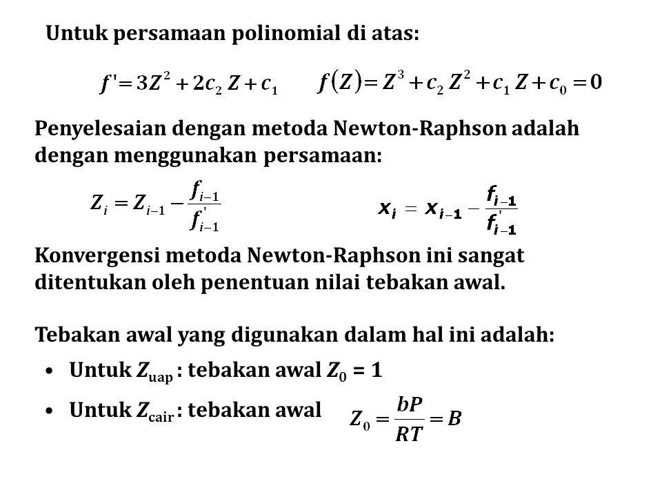 Untuk persamaan polinomial di atas: