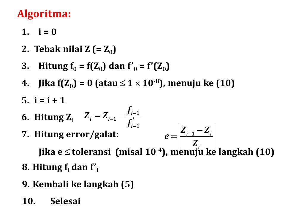 Algoritma: i = 0 Tebak nilai Z (= Z0)