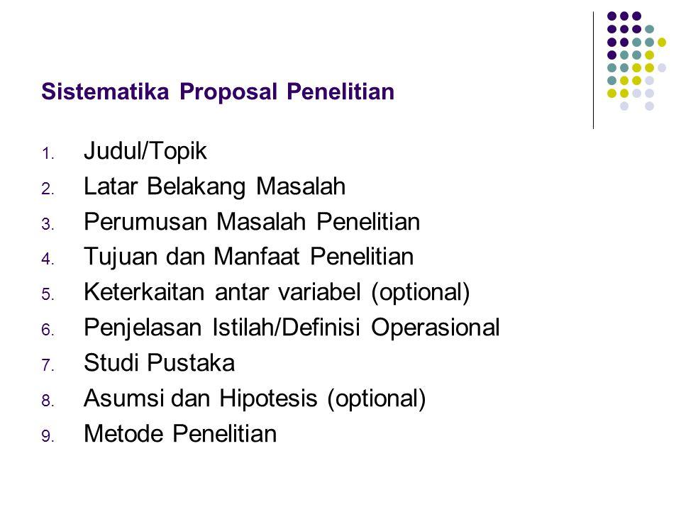 Sistematika Proposal Penelitian