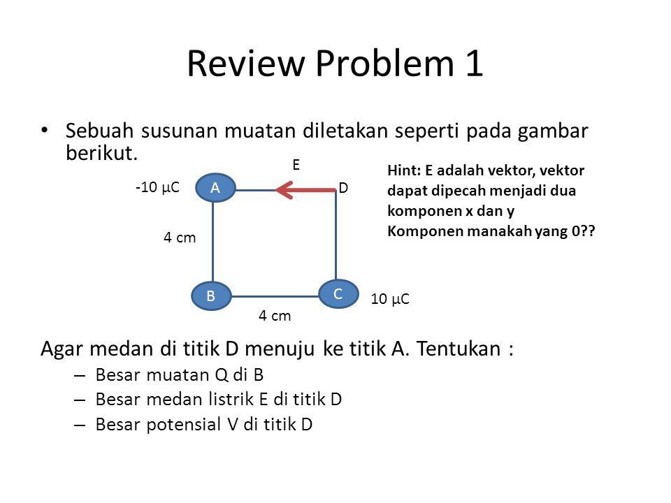 Review Problem 1 Sebuah susunan muatan diletakan seperti pada gambar berikut. Agar medan di titik D menuju ke titik A. Tentukan :