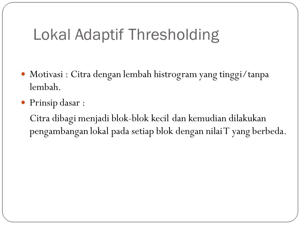 Lokal Adaptif Thresholding