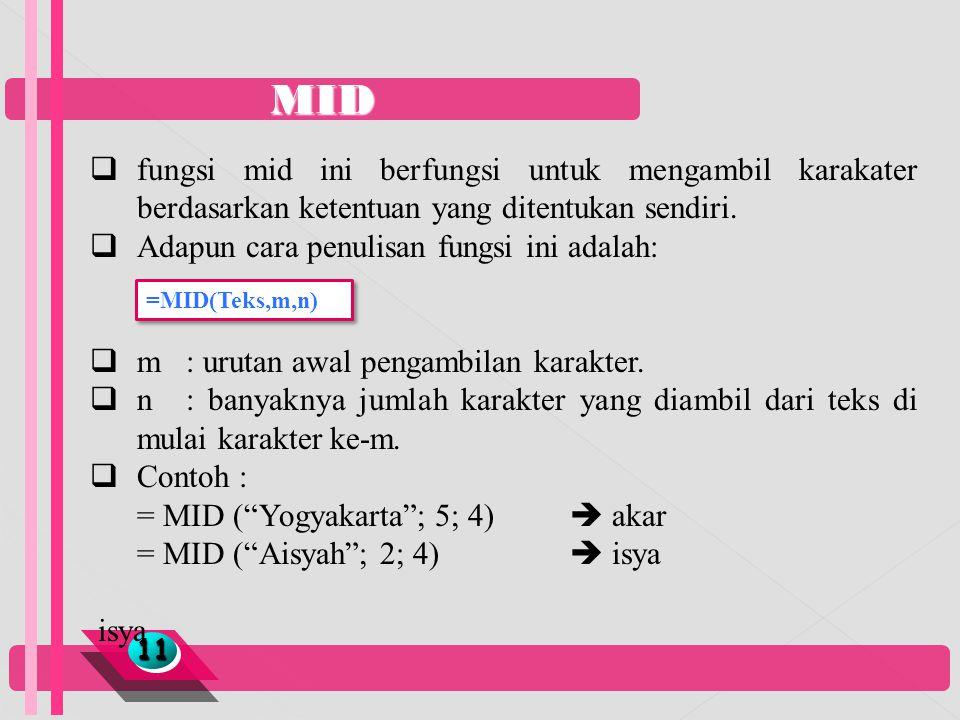 MID fungsi mid ini berfungsi untuk mengambil karakater berdasarkan ketentuan yang ditentukan sendiri.
