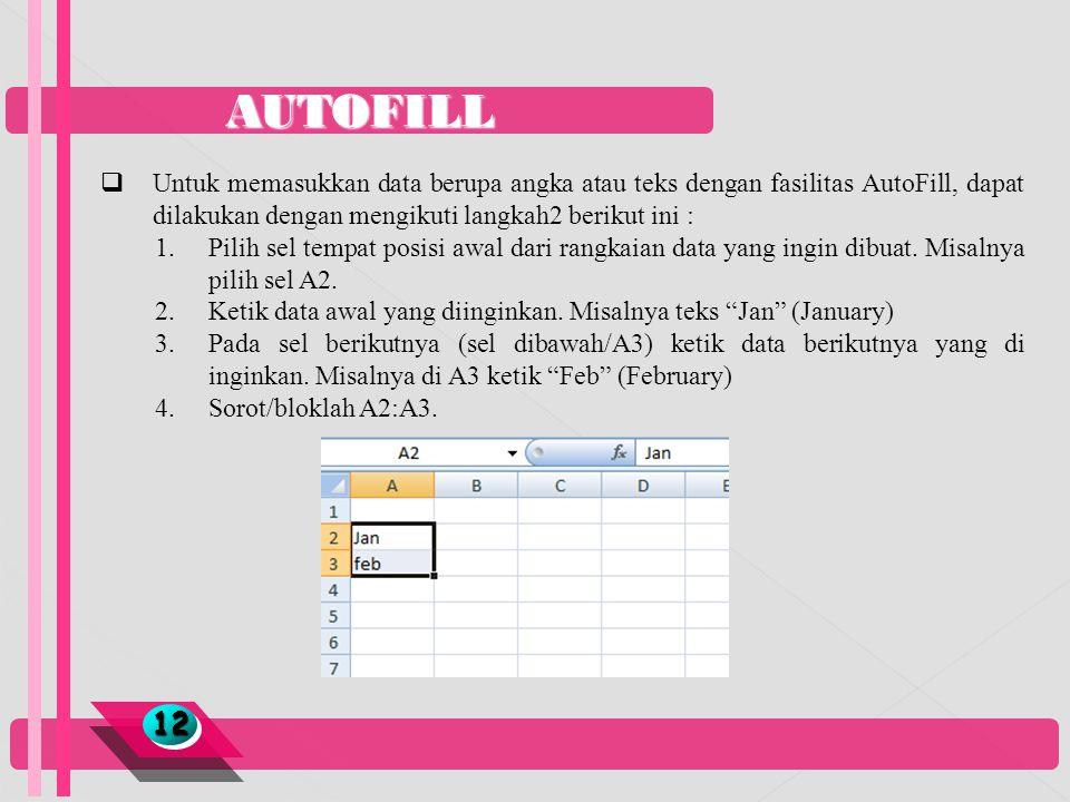 AUTOFILL Untuk memasukkan data berupa angka atau teks dengan fasilitas AutoFill, dapat dilakukan dengan mengikuti langkah2 berikut ini :