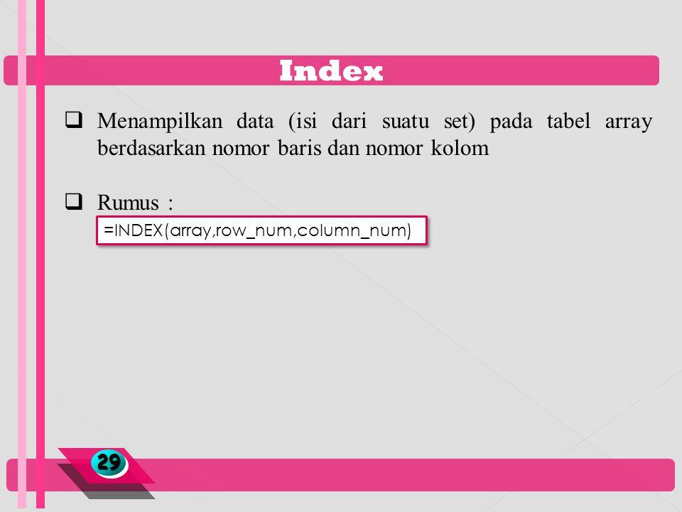 Index Menampilkan data (isi dari suatu set) pada tabel array berdasarkan nomor baris dan nomor kolom.