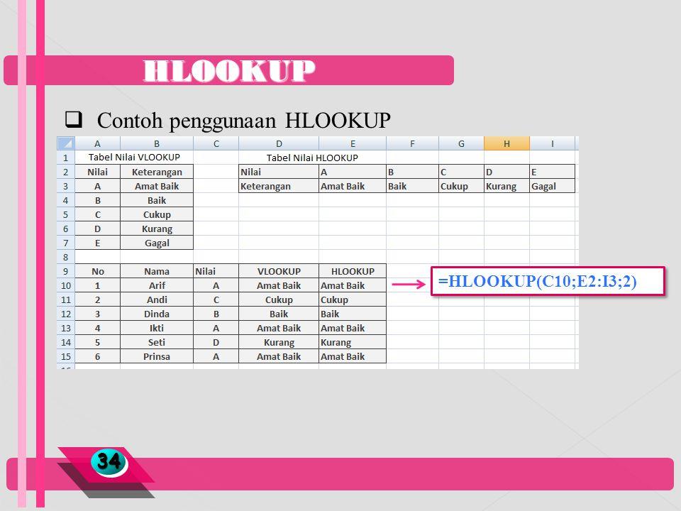 HLOOKUP Contoh penggunaan HLOOKUP =HLOOKUP(C10;E2:I3;2) 34