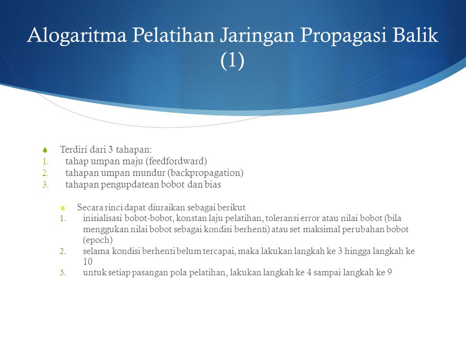 Alogaritma Pelatihan Jaringan Propagasi Balik (1)