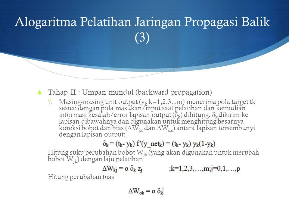 Alogaritma Pelatihan Jaringan Propagasi Balik (3)