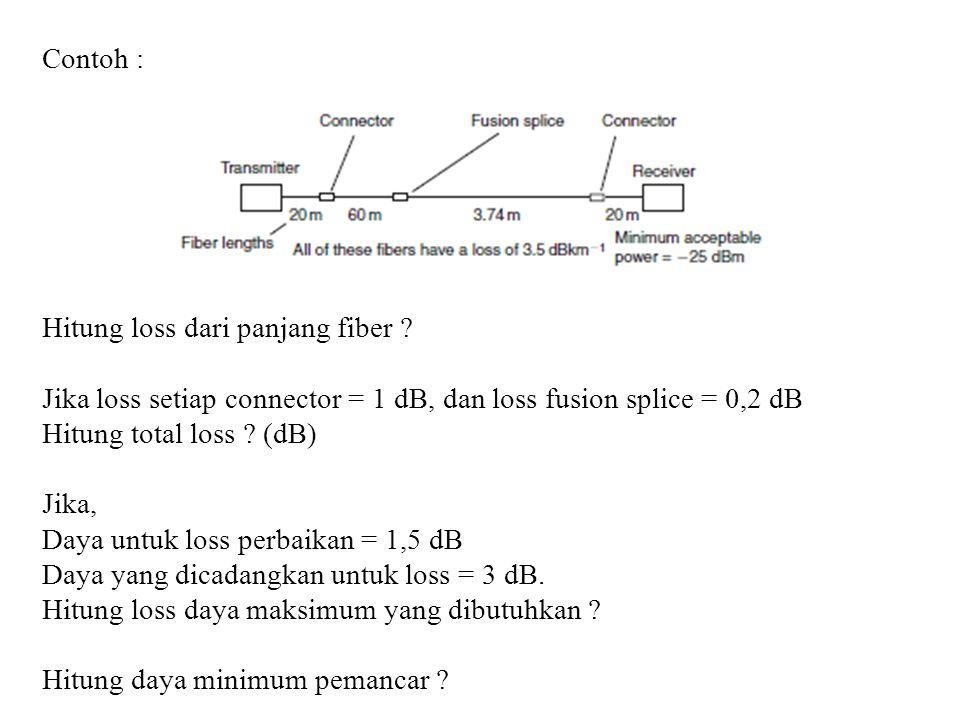 Contoh : Hitung loss dari panjang fiber Jika loss setiap connector = 1 dB, dan loss fusion splice = 0,2 dB.
