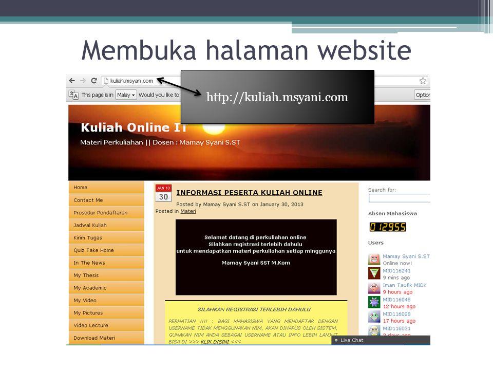 Membuka halaman website