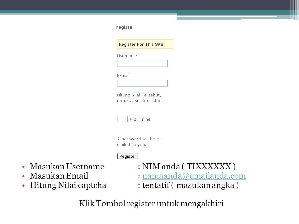 Klik Tombol register untuk mengakhiri