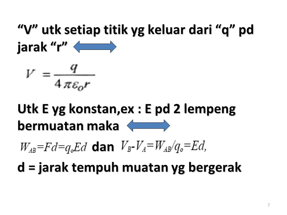 V utk setiap titik yg keluar dari q pd jarak r