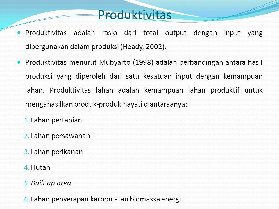 Produktivitas Produktivitas adalah rasio dari total output dengan input yang dipergunakan dalam produksi (Heady, 2002).