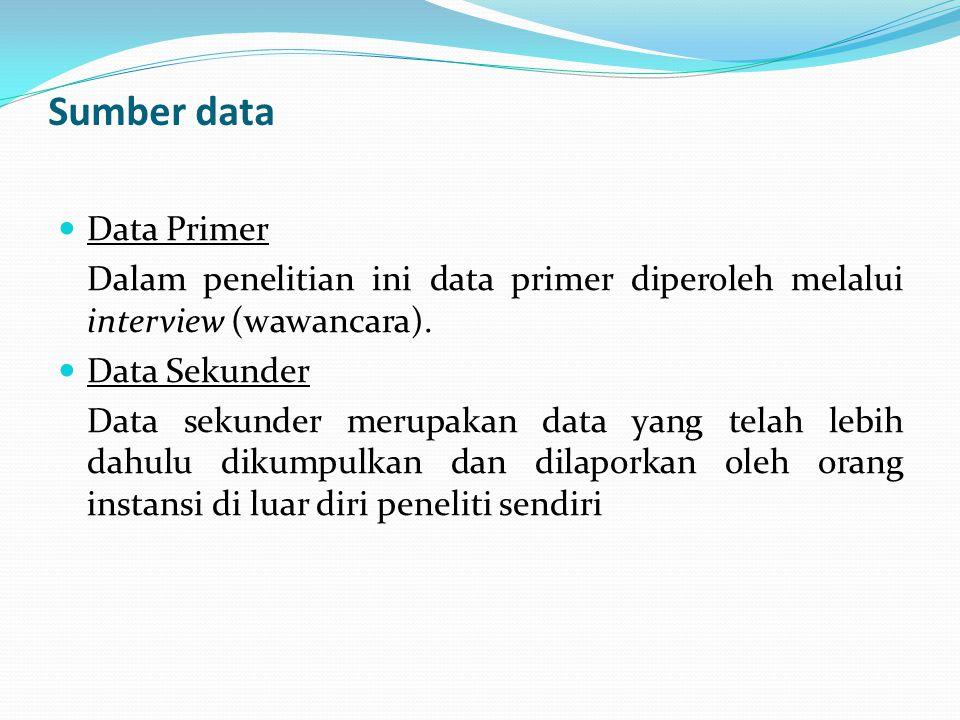 Sumber data Data Primer