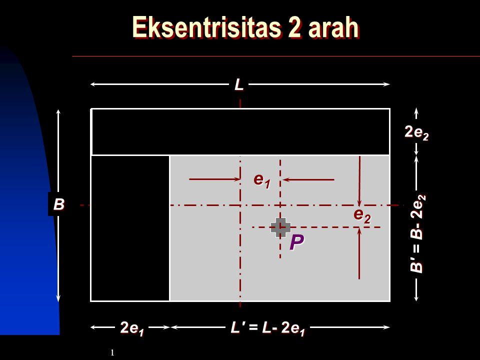 Eksentrisitas 2 arah L B 2e2 B = B- 2e2 e2 e1 P 2e1 L = L- 2e1