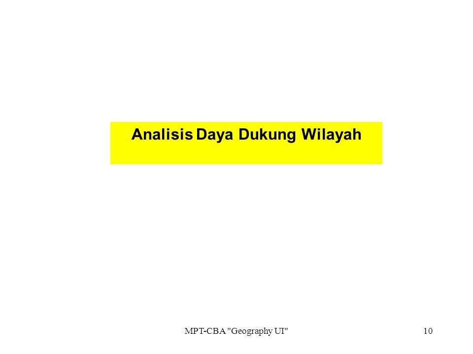 Analisis Daya Dukung Wilayah