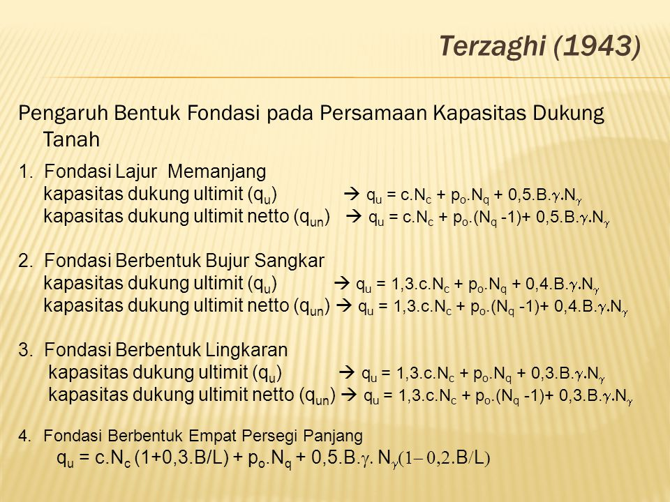 Terzaghi (1943) Pengaruh Bentuk Fondasi pada Persamaan Kapasitas Dukung Tanah. 1. Fondasi Lajur Memanjang.