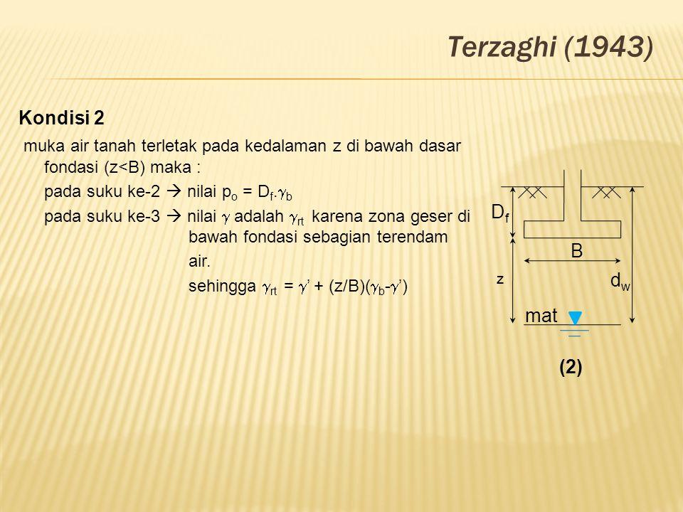 Terzaghi (1943) Kondisi 2. muka air tanah terletak pada kedalaman z di bawah dasar fondasi (z<B) maka :