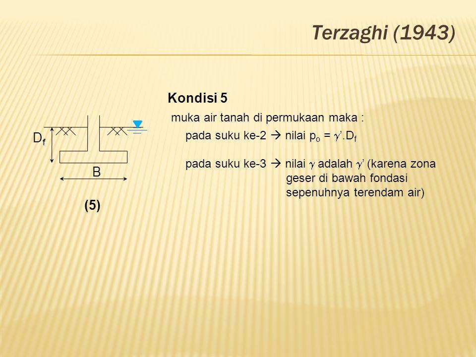 Terzaghi (1943) Kondisi 5 muka air tanah di permukaan maka : Df B (5)